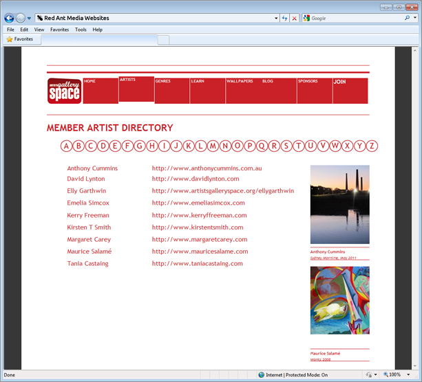Website Design for Artists Gallery Space Artists Page