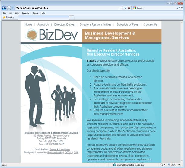Website Design for Biz Dev Home Page