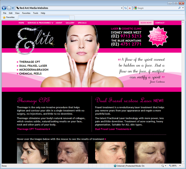 Website Design for Elite Laser and Cosmetic Clinic Home