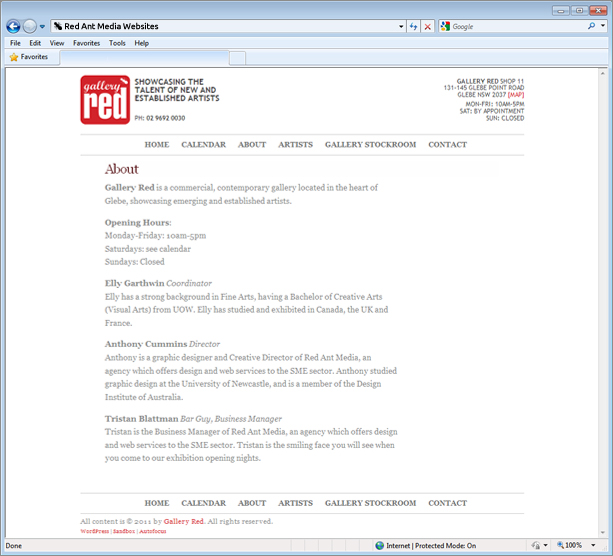 Website Design for Gallery Red About Page