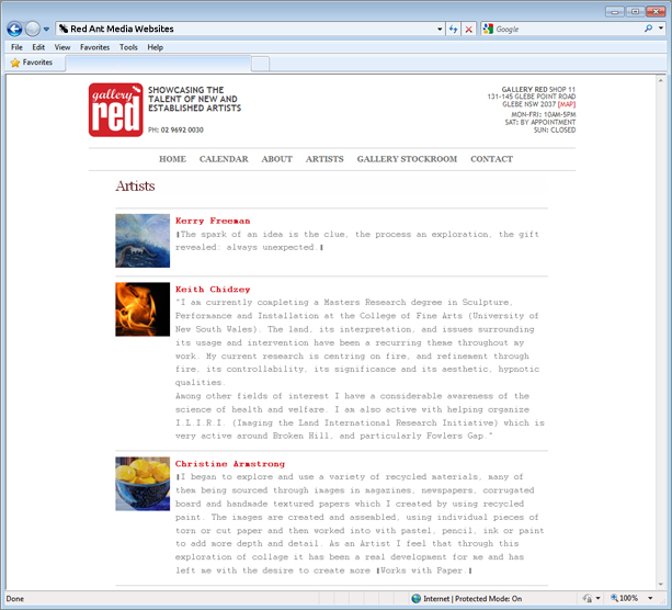Website Design for Gallery Red Artists Page