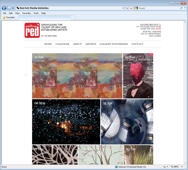 Website Design for Gallery Red Home Page