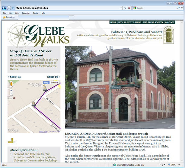 Website Design for Glebe Walks Content Page