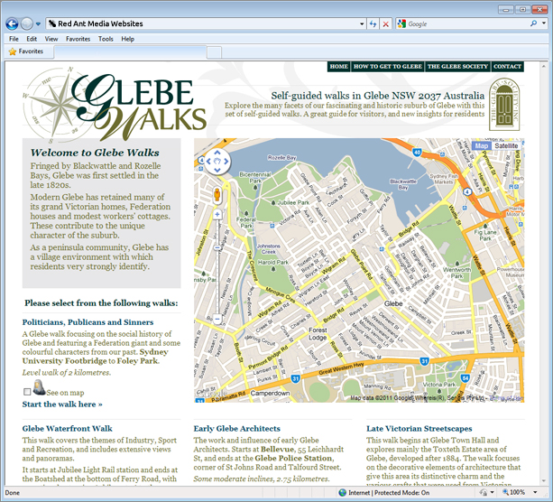 Website Design for Glebe Walks Home Page
