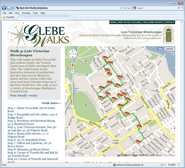 Website Design for Glebe Walks Walk Page