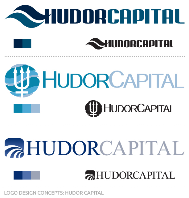 Initial concepts for the Hudor Capital Logo by Red Ant Media