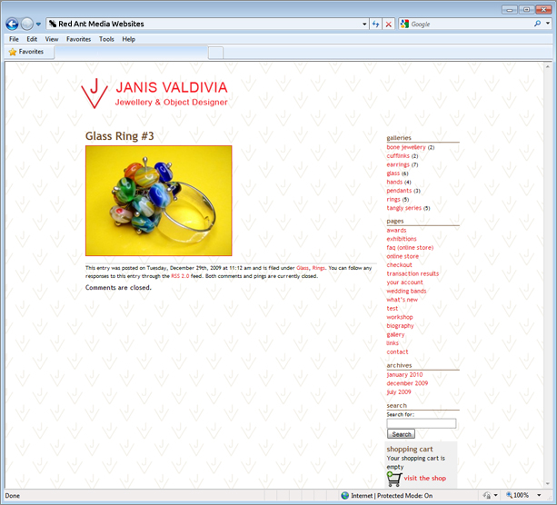 Website design for Janis Valdivia product page