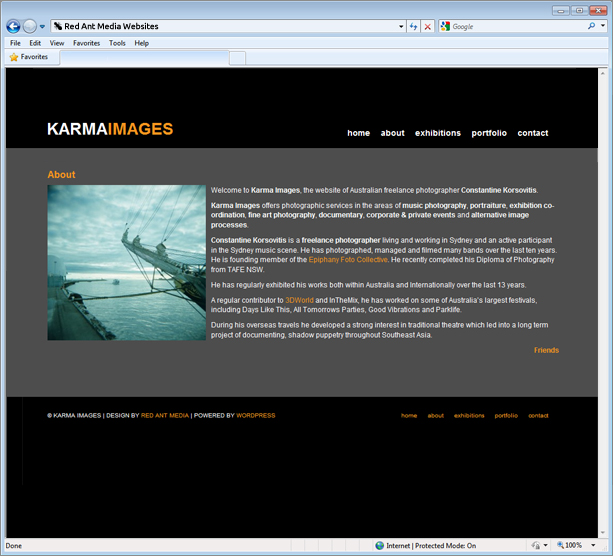 Website Design For Karma Images About Page