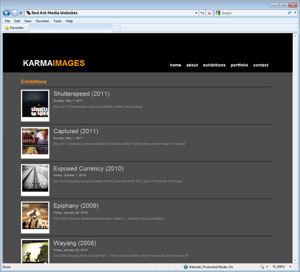 Website Design For Karma Images Exhibition Page
