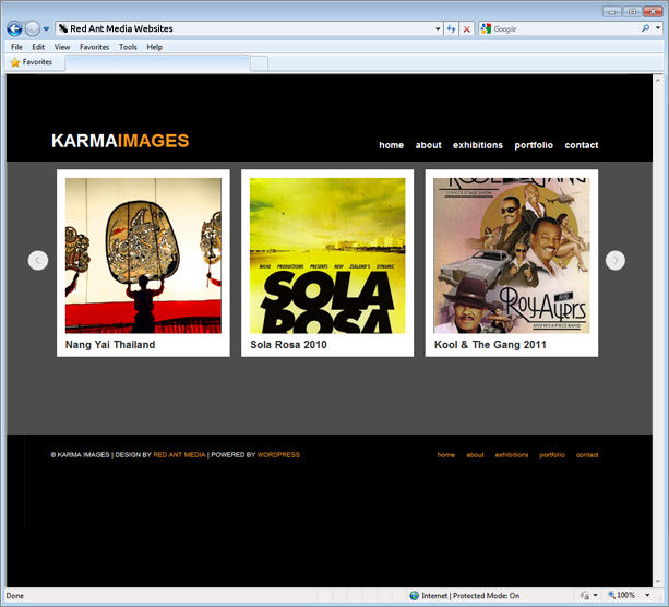 Website Design For Karma Images Home Page