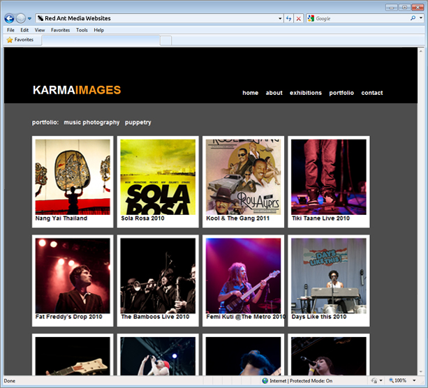 Website Design For Karma Images Portfolio Page