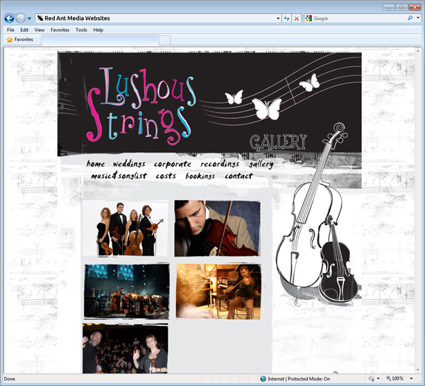 Website Design For Lushous Strings Galleries Page