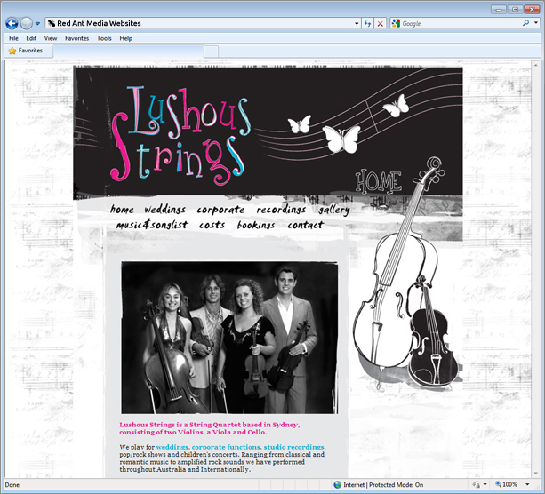 Website Design For Lushous Strings Home Page