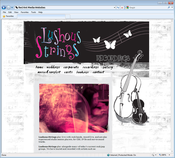Website Design For Lushous Strings Recordings Page