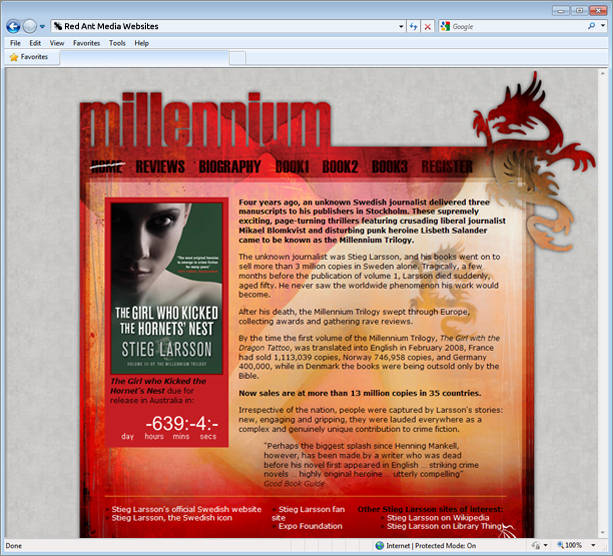 Website Design For The Millenium Trilogy Home Page
