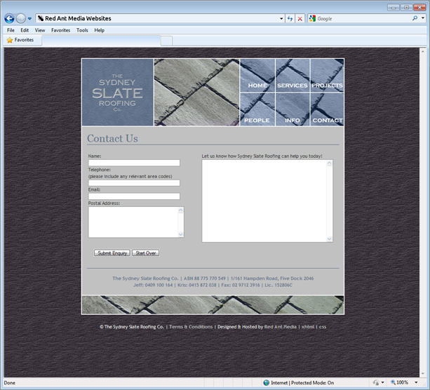 Website Design for Sydney Slate Roofing