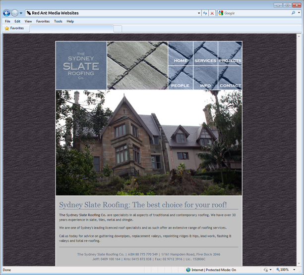 Website Design for Sydney Slate Roofing Home Page