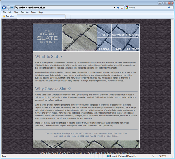 Website Design for Sydney Slate Roofing Info Page