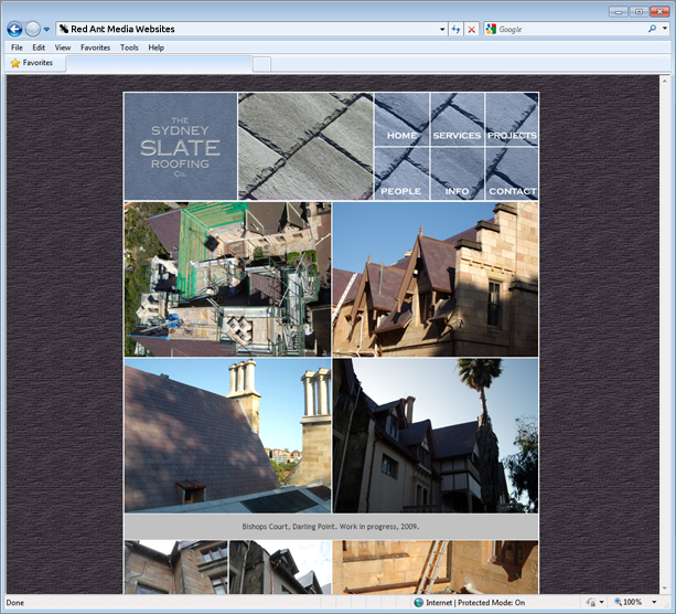 Website Design for Sydney Slate Roofing Projects Page
