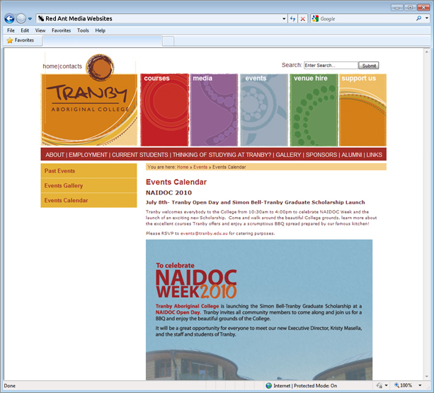Website Design For Tranby Aboriginal College Events Page