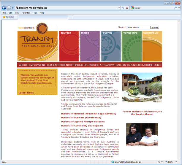 Website Design For Tranby Aboriginal College Home Page
