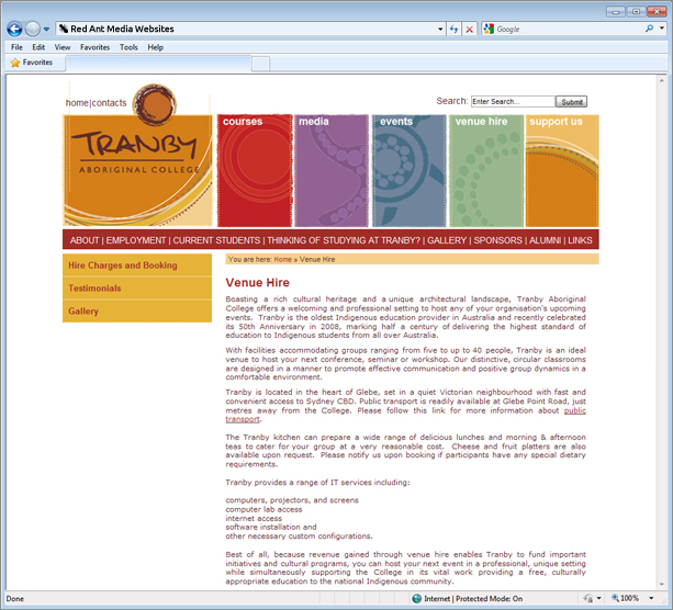 Website Design For Tranby Aboriginal College Venue Page
