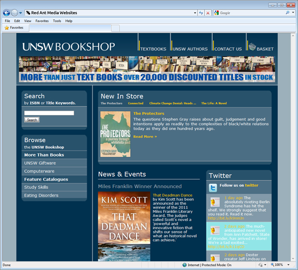 Website Design for UNSW Bookshop Home Page