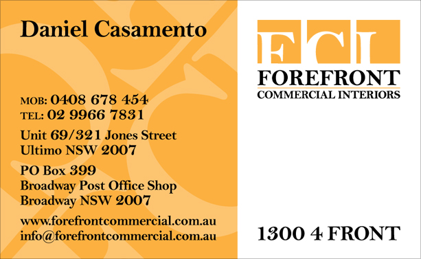 Graphic Design for Forefront Commercial Interiors Business Card Front