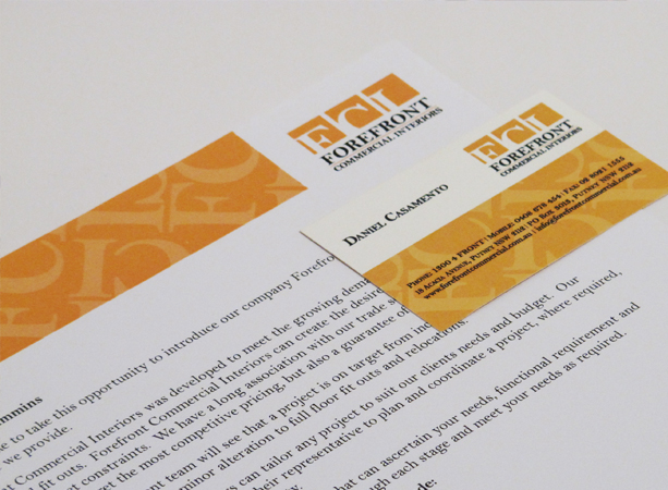 Graphic Design for Forefront Commercial Interiors Stationery