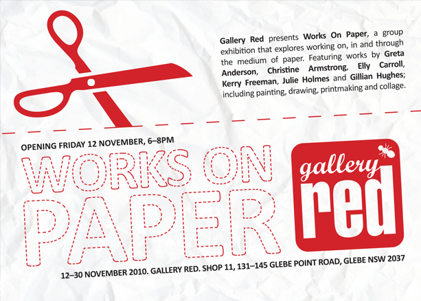 Graphic Design for Gallery Red Works on Paper Invite