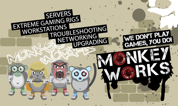 Graphic Design for Monkey Works Business Card Back