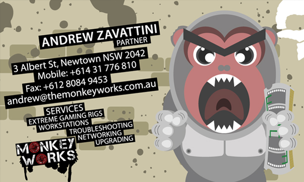 Graphic Design for Monkey Works Business Card Front