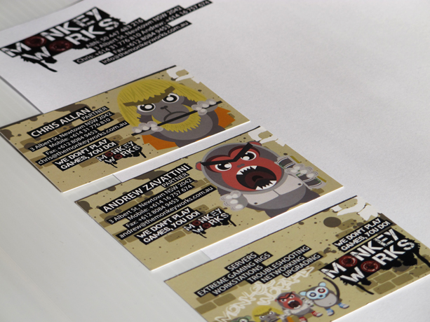 Graphic Design for Monkey Works Business Card Letterhead