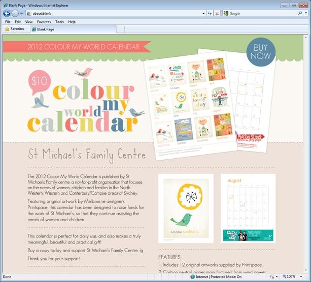 St Michael's Colour My World Calendar Landing Page