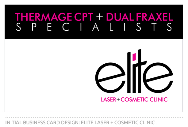 Initial Business Card Design for Elite Laser and Cosmetic Clinic