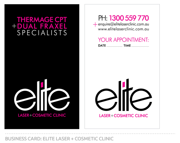 Final Business Card Design For Elite Lase and Cosmetic Clinic