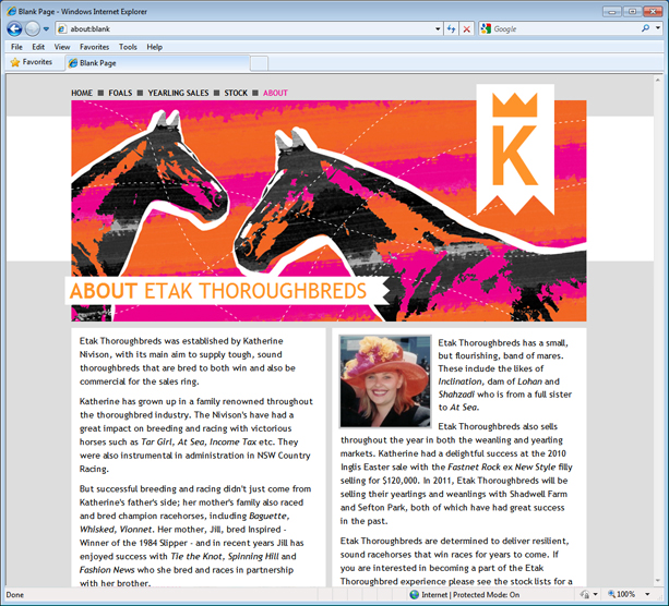 About page design for Etak Thoroughbreds website