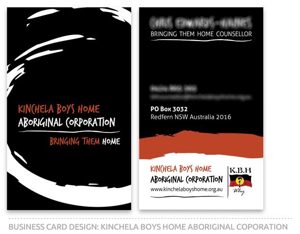 Business Card Design For Kinchela Boys Home Aboriginal Corporation